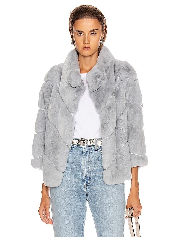 Rex Rabbit Fur Jacket in Sky