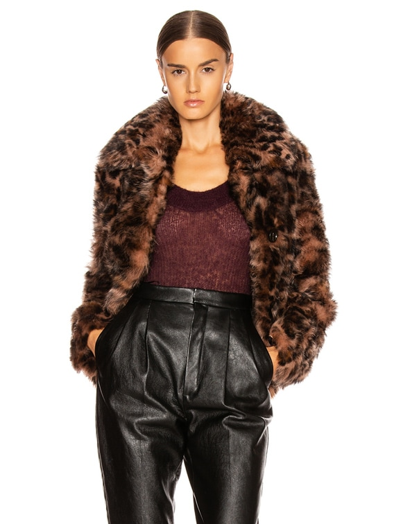 Toscana Shearling Jacket in Leopard Print