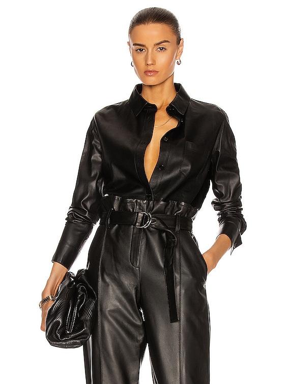 Lamb Leather Shirt in Noir