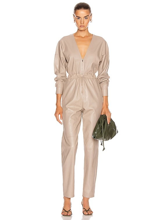 V Neck Leather Jumpsuit in Sand