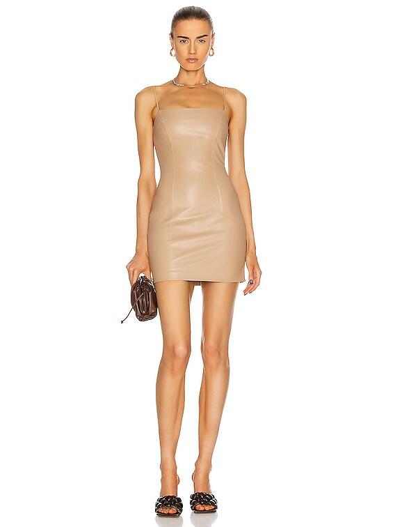 Mini Spaghetti Leather Dress in Beige