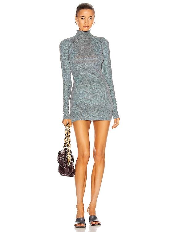 Turtleneck Mini Knit Dress in Grey Blue