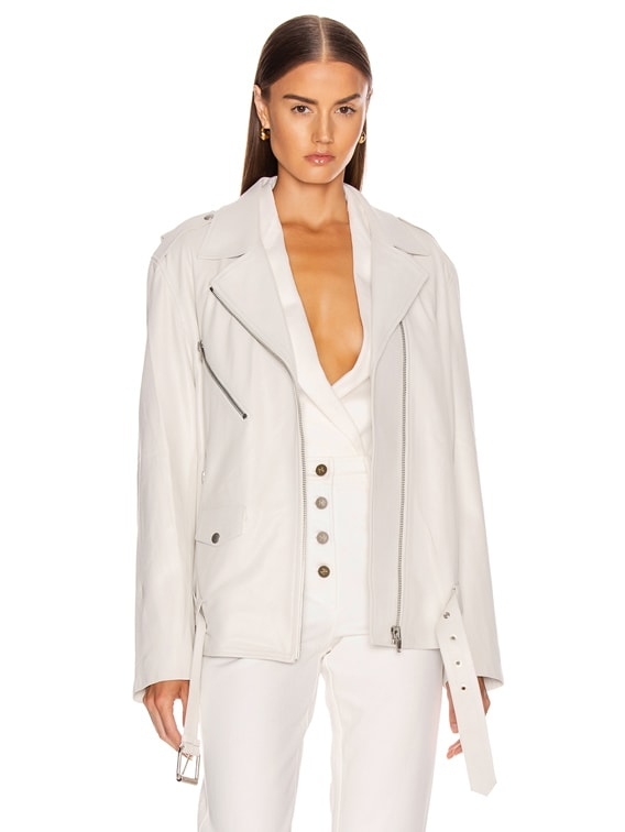 Oversized Leather Biker Jacket in White