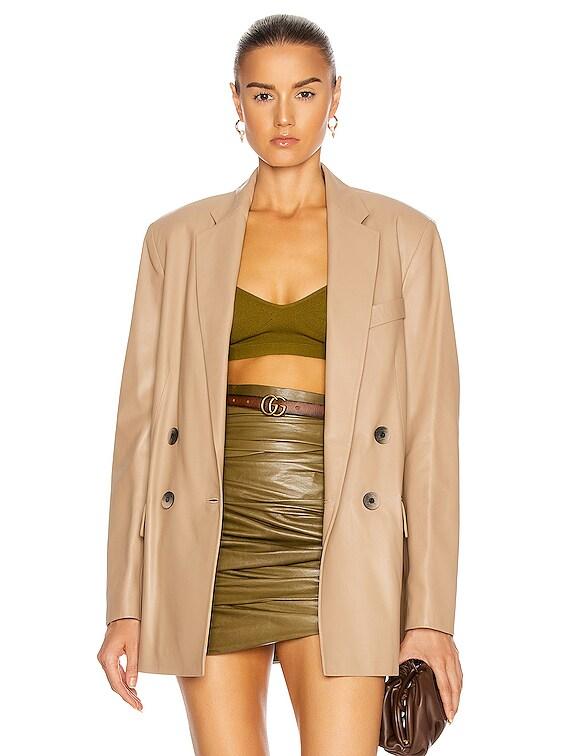 Gem Leather Jacket in Beige