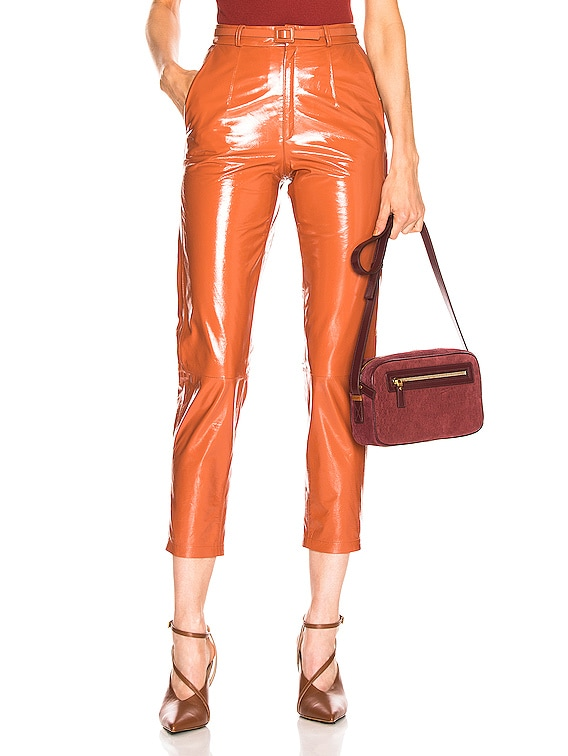 Mom Patent Leather Pants in Brick