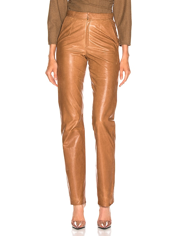 High Waisted Cigarette Leather Pant in Light Taba