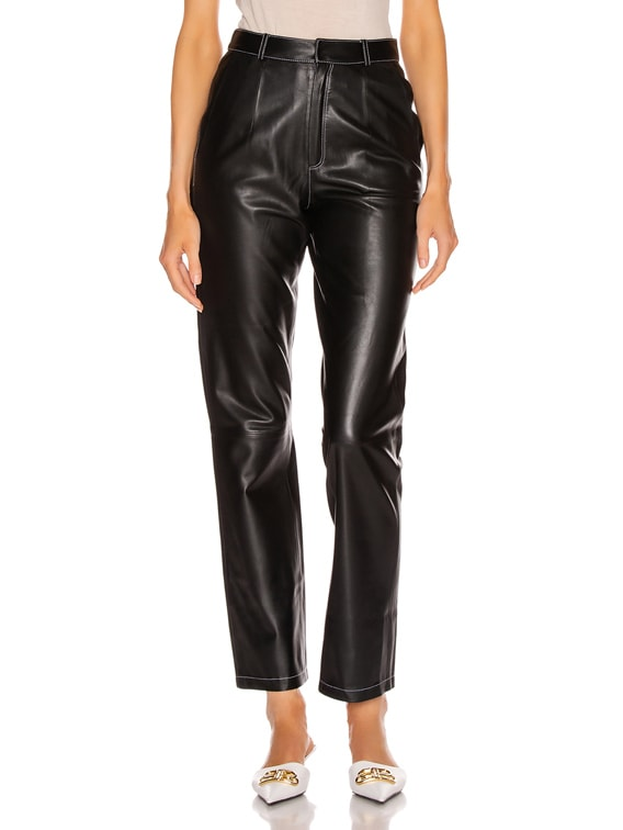 Leather Cigarette Pant in Black