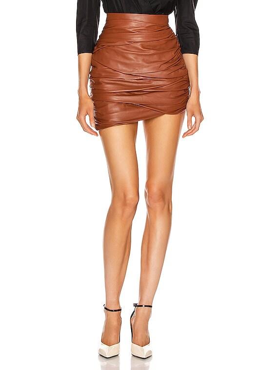 Asymmetric Mini Draped Leather Skirt in Whiskey