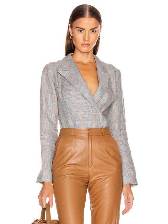 Linen Jacket Bodysuit in Grey