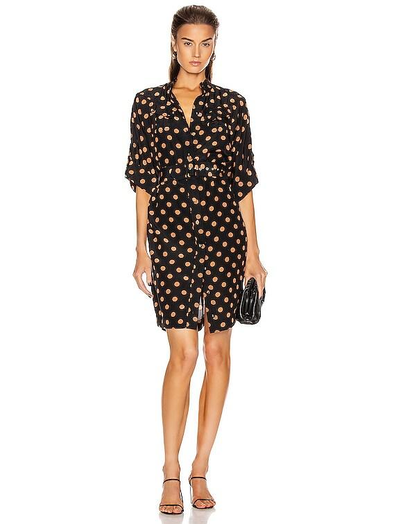 Silk Utility Mini Dress in Black & Tan Dot