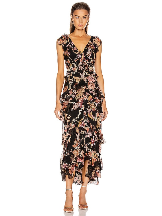 Wavelength Frilled Midi Dress in Black Phoenix