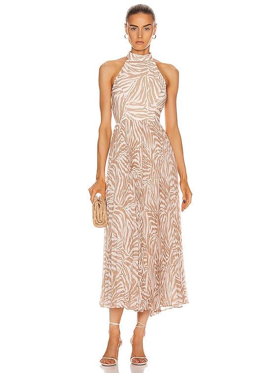 Sunray Picnic Dress in Sand Zebra