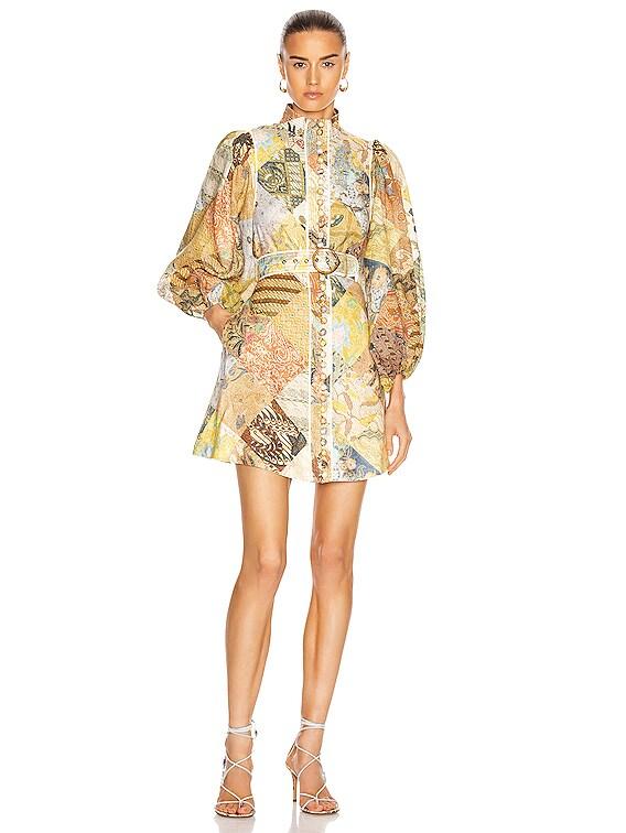 Brightside A-Line Mini Dress in Batik Patch