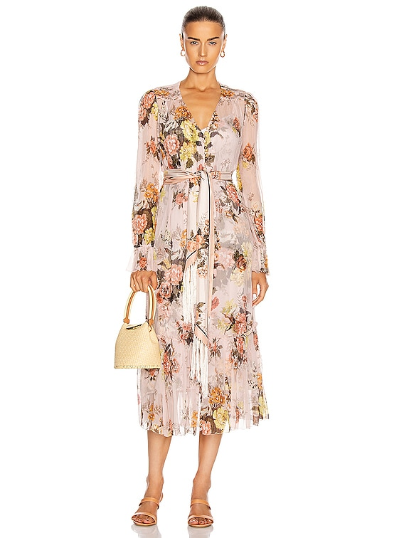 Brightside Lantern Sleeve Midi Dress in Blush Daphne