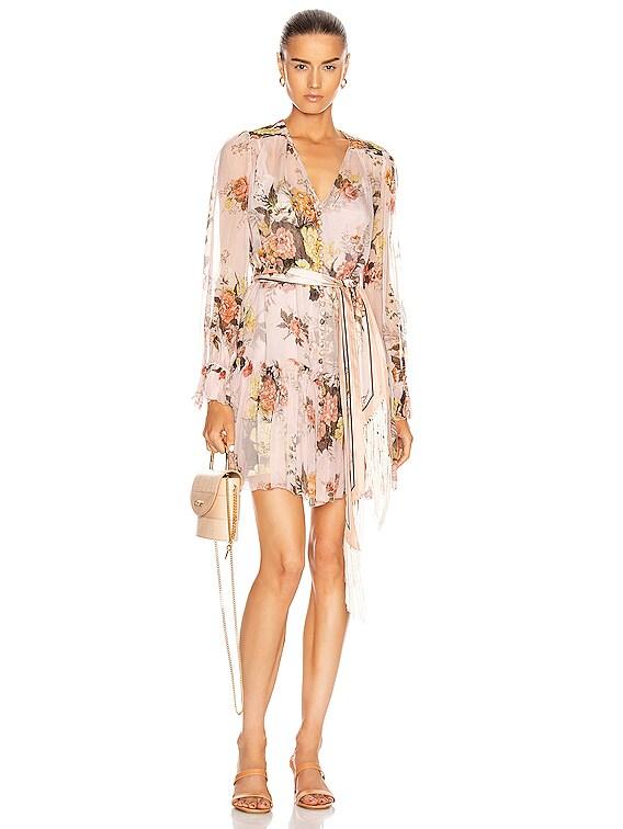Brightside Lantern Sleeve Mini Dress in Blush Daphne