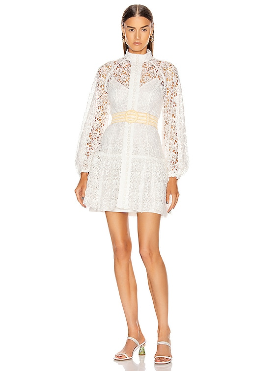 Empire Fit Flare Short Dress in Ivory