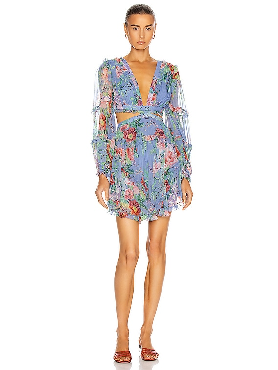 Bellitude Floating Cut Out Dress in Cornflower Floral