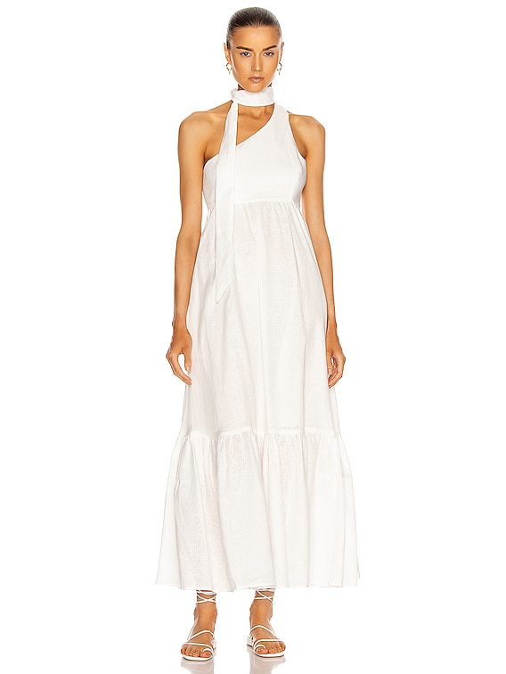 Juliette Tie Neck Dress in Ivory