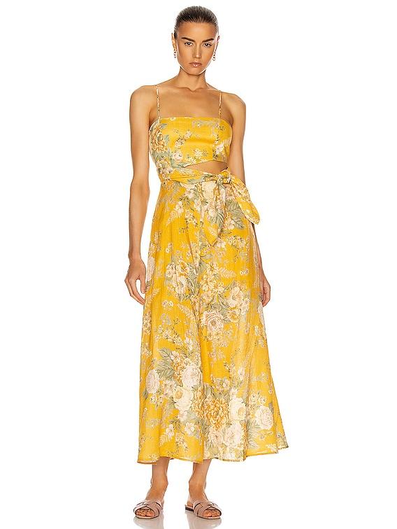Amelie Scarf Tie Dress in Amber Floral