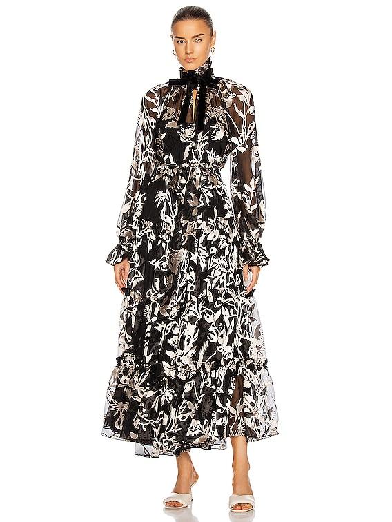 Ladybeetle Swing Long Dress in Black Mystic Eye