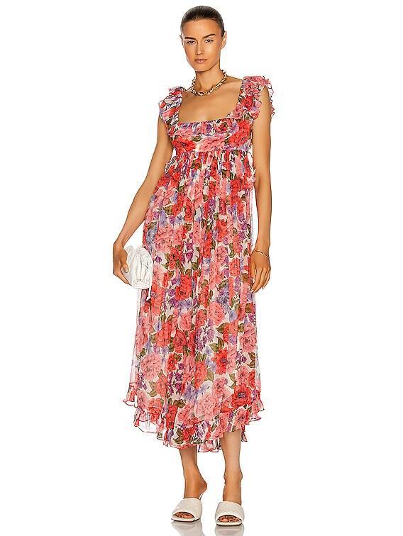 Poppy Frill Edge Midi Dress in Crimson Floral
