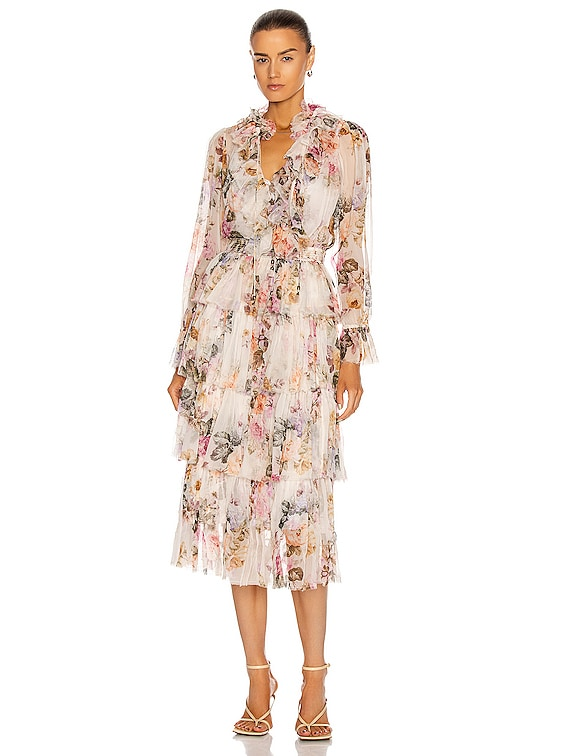 Brighton Tiered Frill Dress in Antique Floral