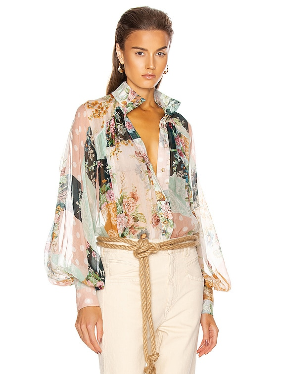 Wavelength Smock Blouse in Patchwork Floral
