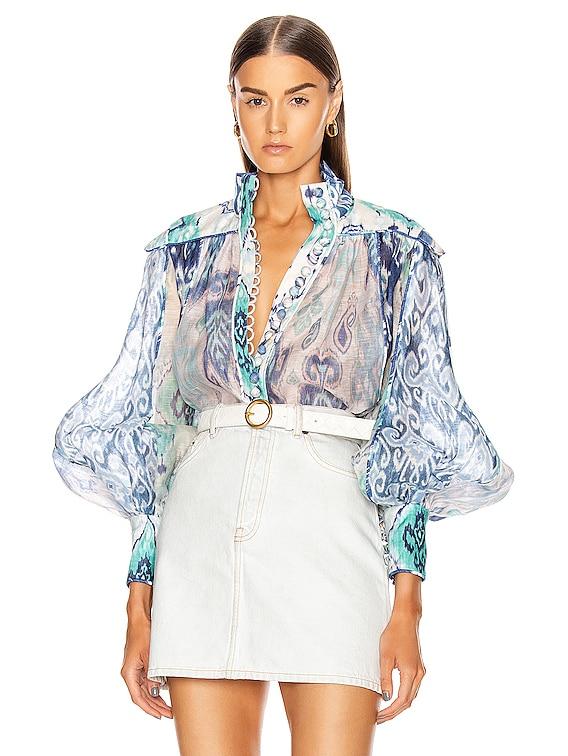 Glassy Long Sleeve Blouse in Spliced Blue Ikat