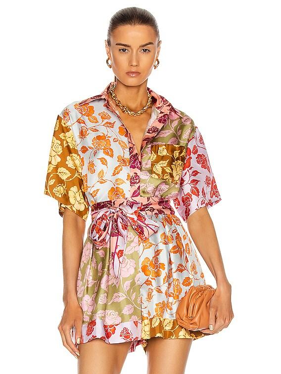 Lovestruck Spliced Shirt in Mixed Roses