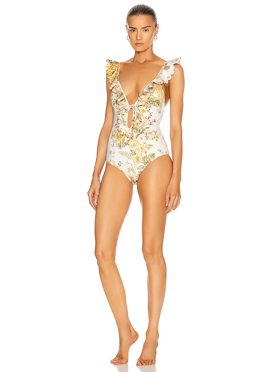 Amelie Frill Swimsuit in Ivory Garden Floral