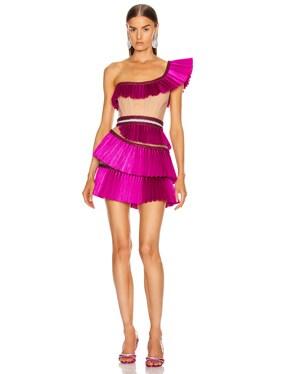 One Shoulder Pleated Ruffle Mini Dress