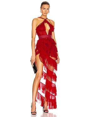 Asymmetric Ruffle Bustier Dress