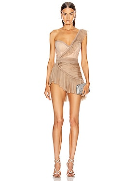 One Shoulder Asymmetric Bustier Mini Dress