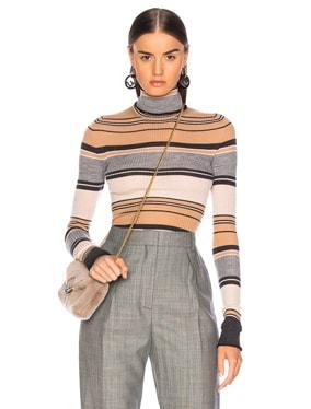Striped Turtleneck Knit Top
