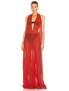 Solid Halterneck Long Dress