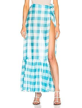 Vichy Long Pleated Skirt