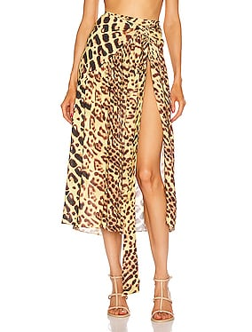 Leopard Pareo Midi Skirt