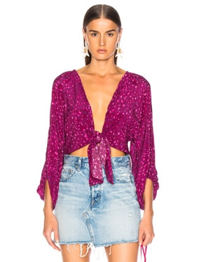 Pomegranate Shirt With Voluminous Sleeves
