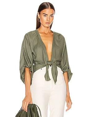 Linen Solid Voluminous Sleeve Shirt