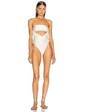 Solid High Leg Strapless Swimsuit