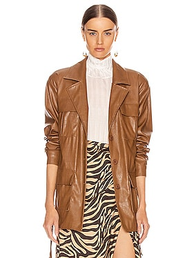 Carine Faux Leather Croco Print Jacket