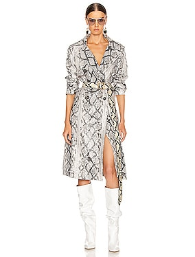 Claretta Faux Leather Snake Print Trench Coat