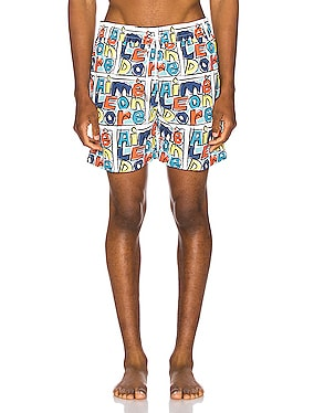 Crayon Print Swim Trunks