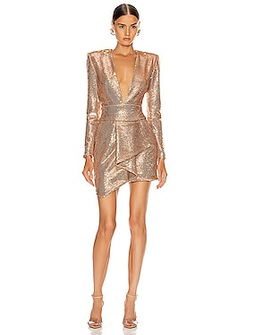 Sequin Plunging Mini Dress