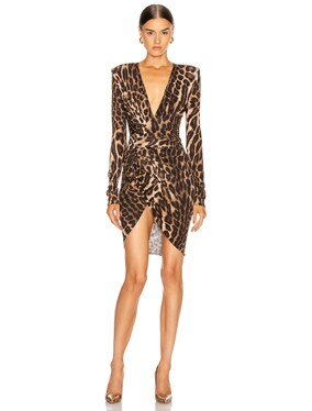 for FWRD Plunging Ruched Mini Dress