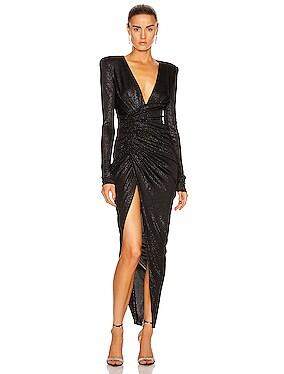 Lame Rib Jersey Maxi Dress