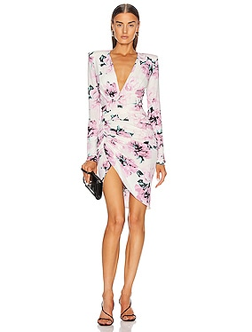 Ruched Floral Mini Dress