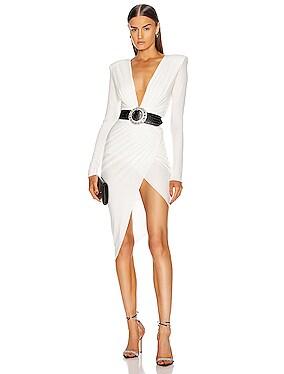 Plunging Asymmetric Midi Dress