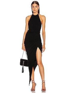 Ruched Halter Asymmetric Dress