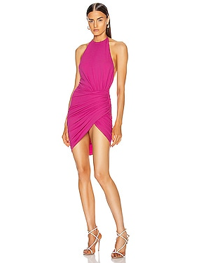 Ruched Halter Mini Dress